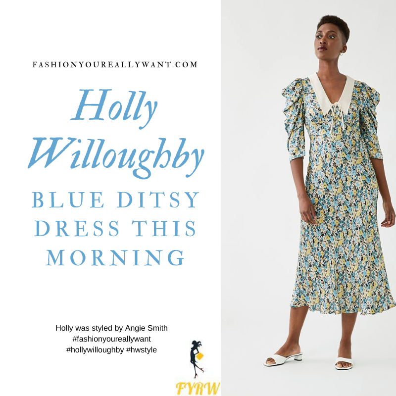 Where to get all Holly Willoughby This Morning outfits blog September 2020 blue yellow ditsy floral print midi dress with a white collar nude suede court shoes