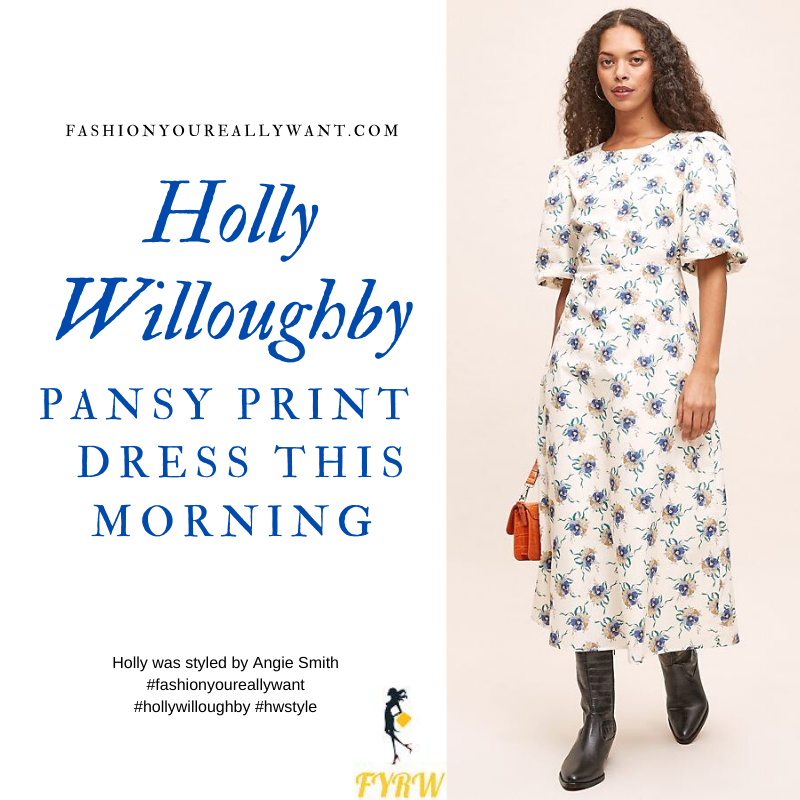 Where to get all Holly Willoughby This Morning outfits blog September 2020 off white short sleeve midi dress floral pansy ribbon print nude suede court shoes