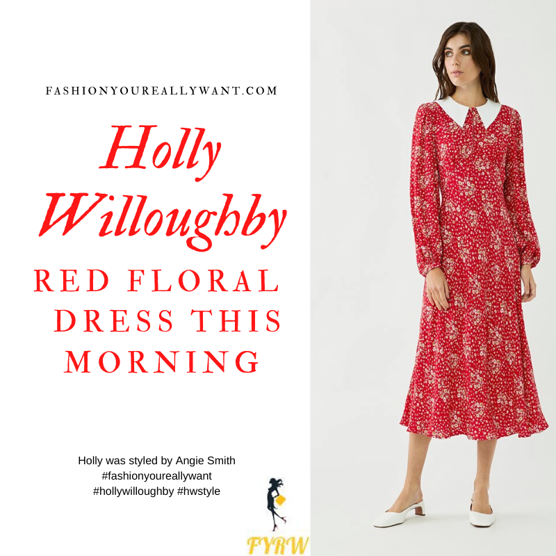 Where to get all Holly Willoughby This Morning outfits blog September 2020 long sleeve red floral dress white collar