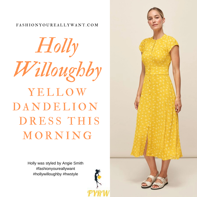 Where to get all Holly Willoughby This Morning outfits blog September 2020 yellow short sleeve midi dress dandelion print