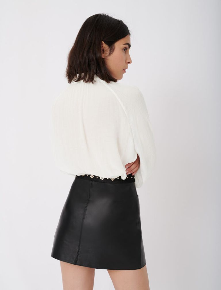 Maje Flowing Shirt With Pussy-Bow Collar back view