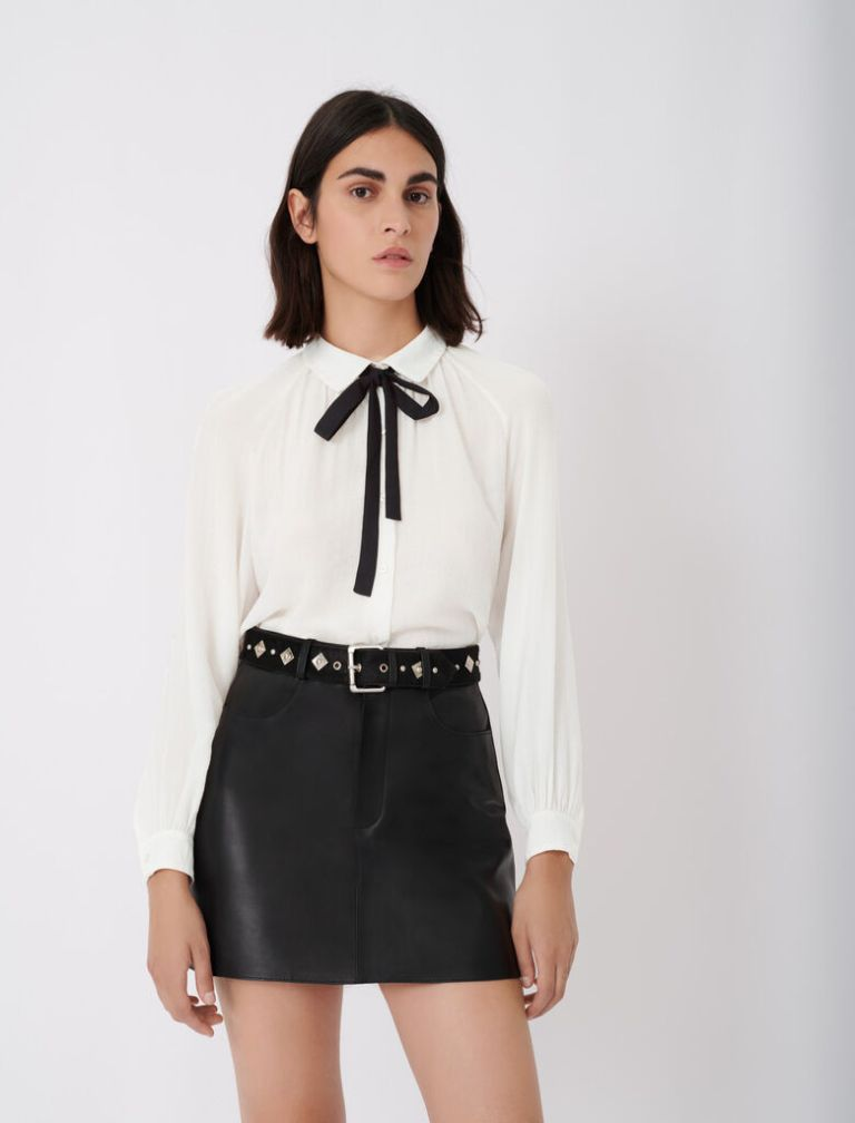 Maje Flowing Shirt With Pussy-Bow Collar