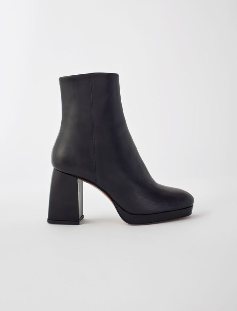 Maje Leather Boots With Trapeze Heel