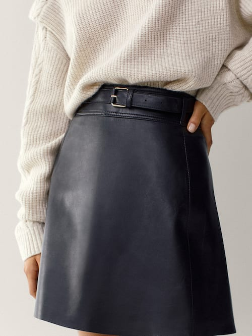 Massimo Dutti Black Leather Short Skirt With Belt