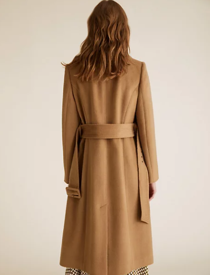 M&S Collection Belted Double Breasted Longline Coat back view