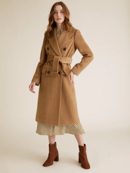 M&S Collection Belted Double Breasted Longline Coat