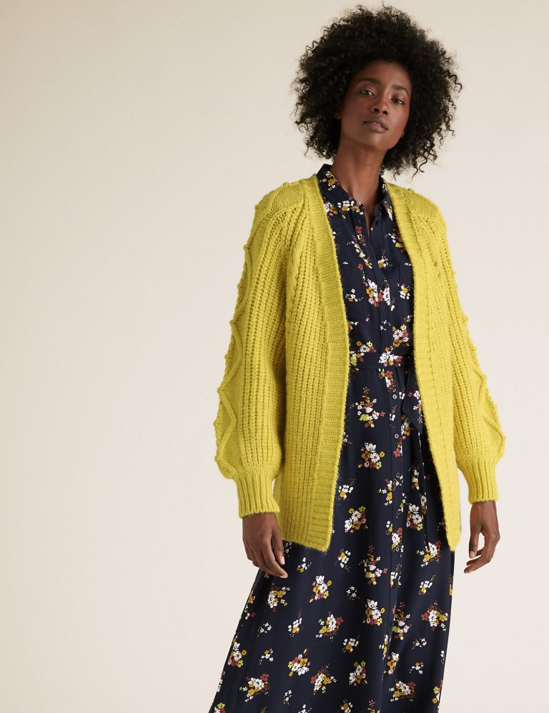 M&S Collection Cable Knit Relaxed Longline Cardigan