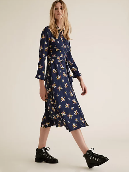 M&S Collection Floral Belted Midi Shirt Dress