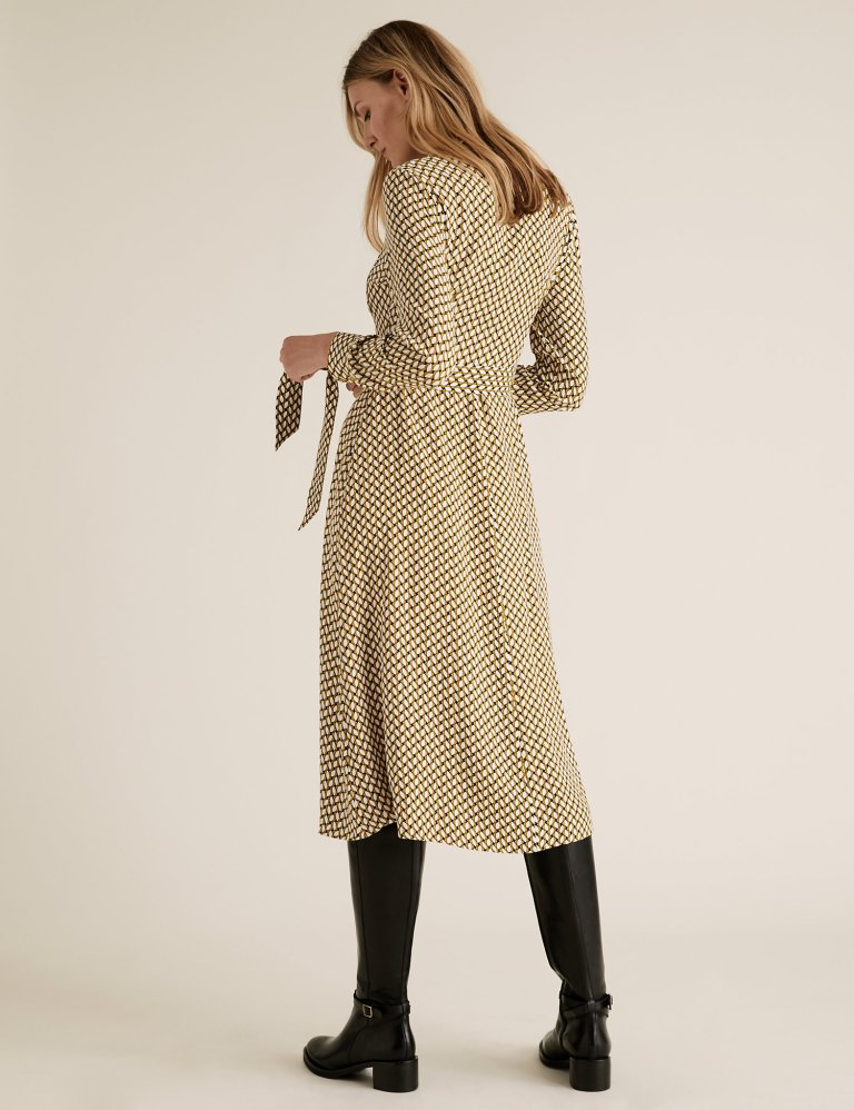 M&S Collection Geometric Belted Midi Shirt Dress back view