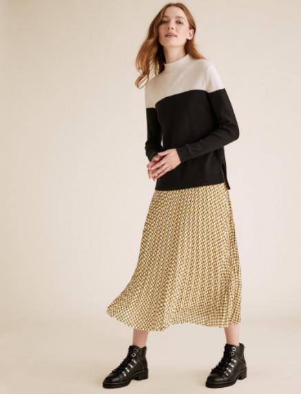 M&S Collection Geometric Pleated Midi Skirt