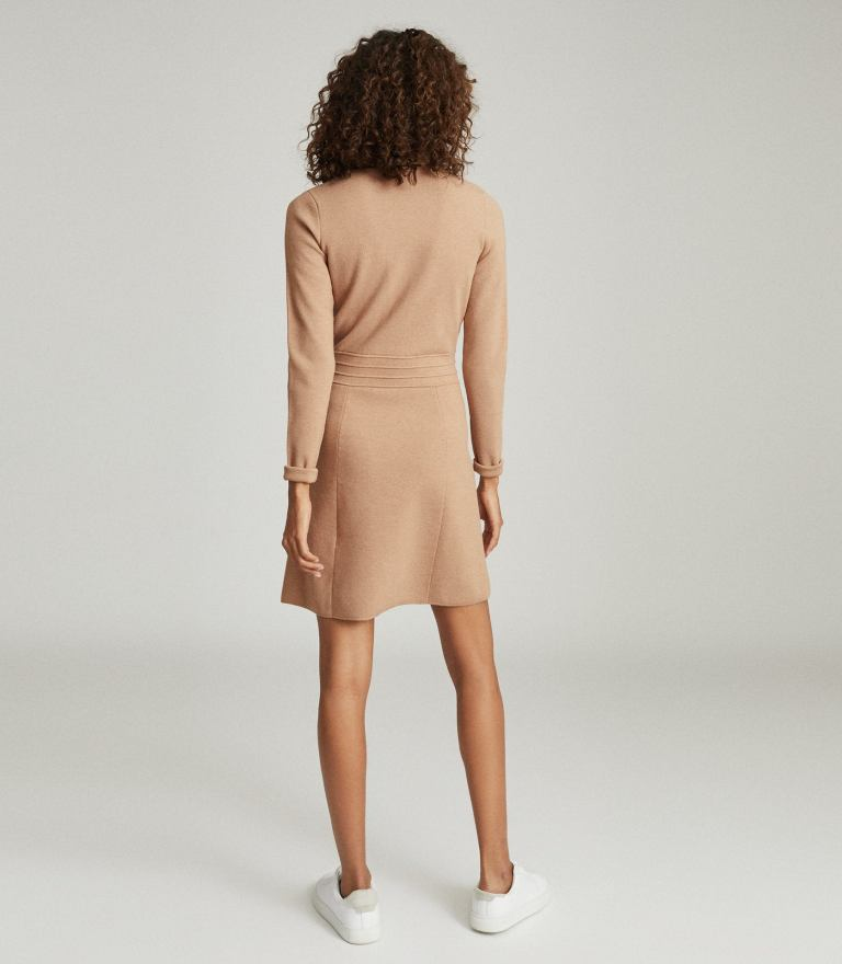 Reiss Gemima Button Collar Knitted Dress in Neutral back view