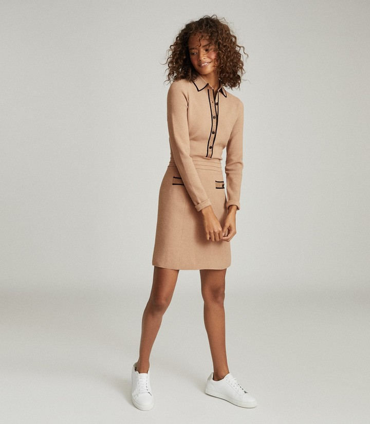 Reiss Gemima Button Collar Knitted Dress in Neutral