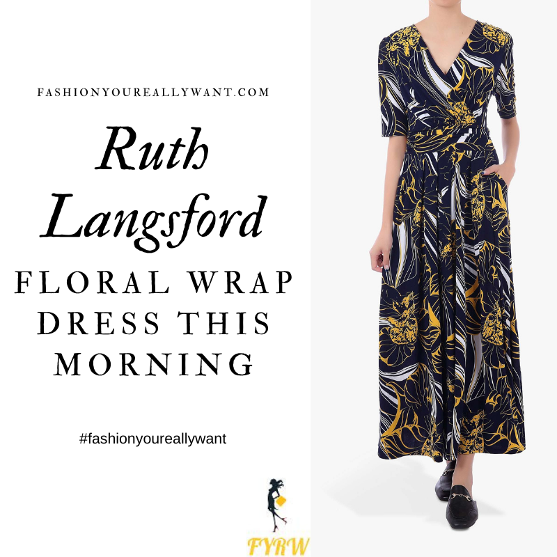 Where to get all Ruth Langsford This Morning outfits blog August 2020 navy black yellow and white floral wrap front short sleeve maxi dress