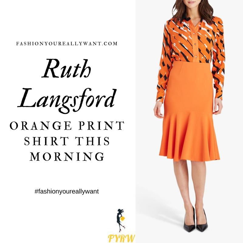 Where to get all Ruth Langsford This Morning outfits blog September 2020 orange black white stripe print shirt