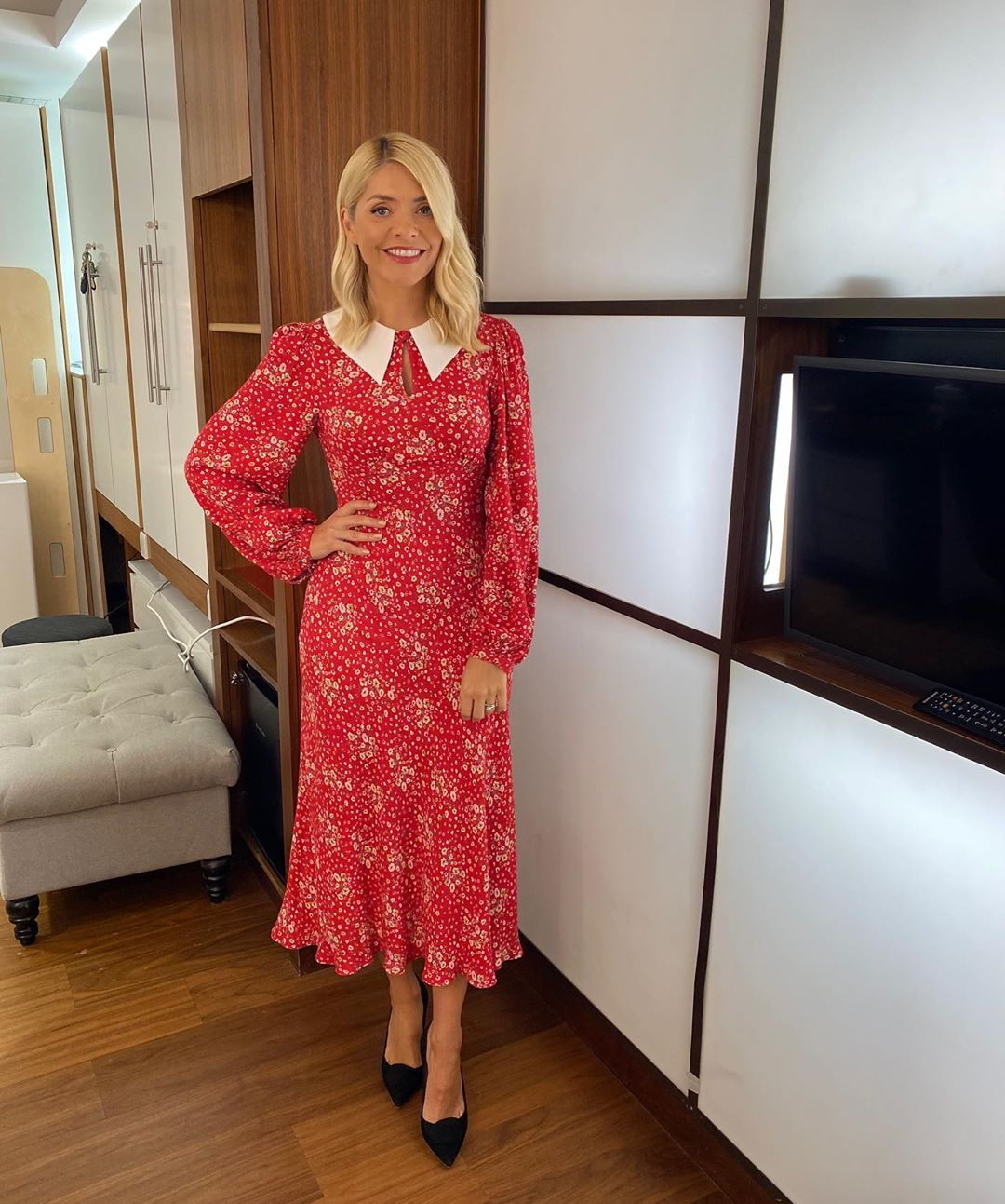 where to get all Holly Willoughby This Moring dresses red floral long sleeve dress white collar 7 September 2020 Photo Holly Willoughby