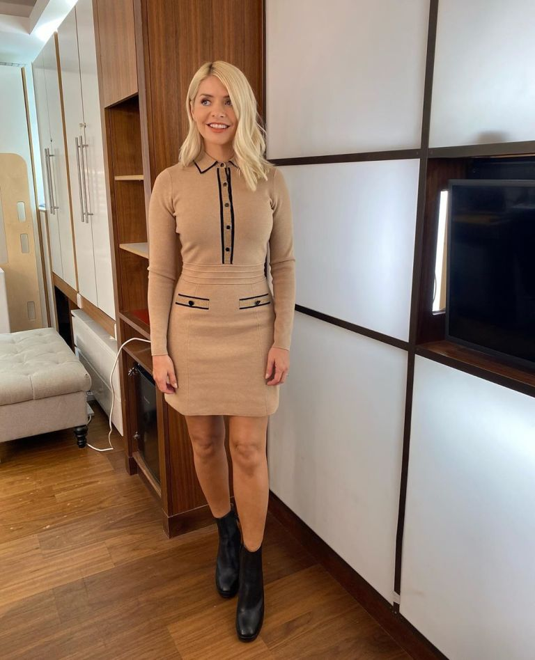where to get all Holly Willoughby This Morning dresses beige and black knitted dress black boots 23 September 2020 Photo Holly Willoughby