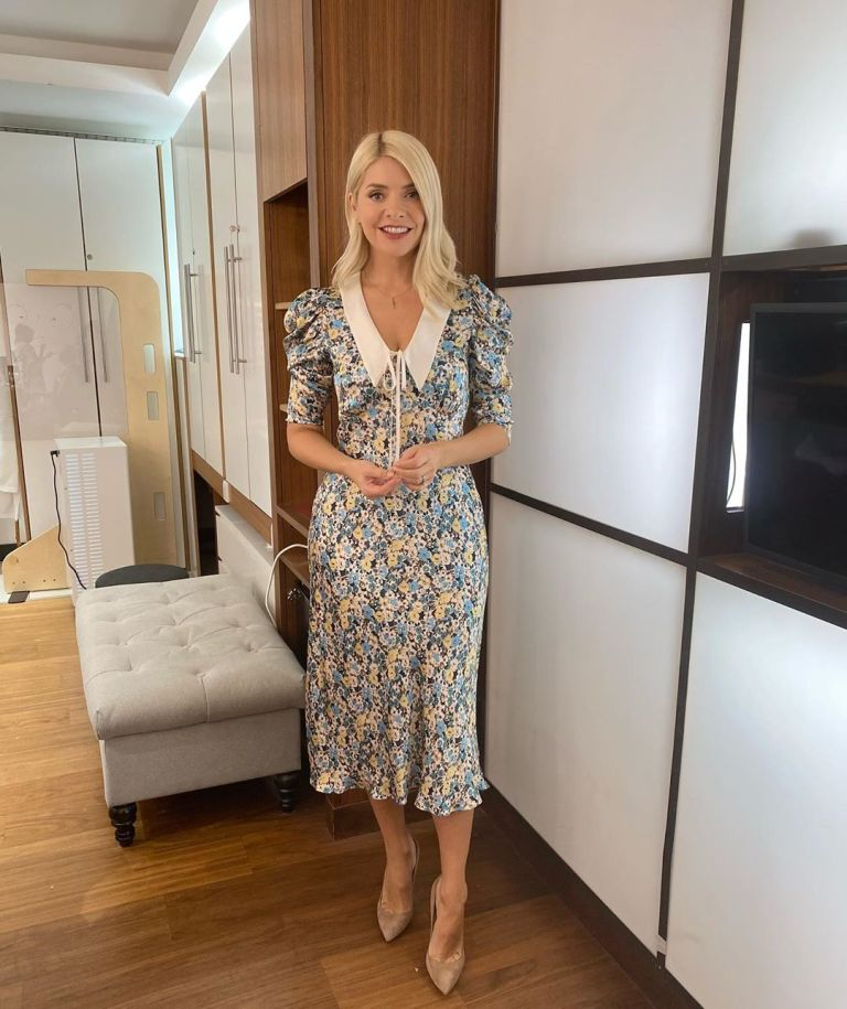 Where to get all Holly Willoughby This Morning dresses blue ditsy midi dress white collar 24 September 2020 Photo Holly Willoughby