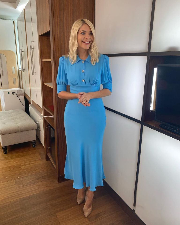where to get all Holly Willoughby This Morning dresses blue midi dress wth collar and buttons nude suede court shoes 30 September 2020 Photo Holly Willoughby