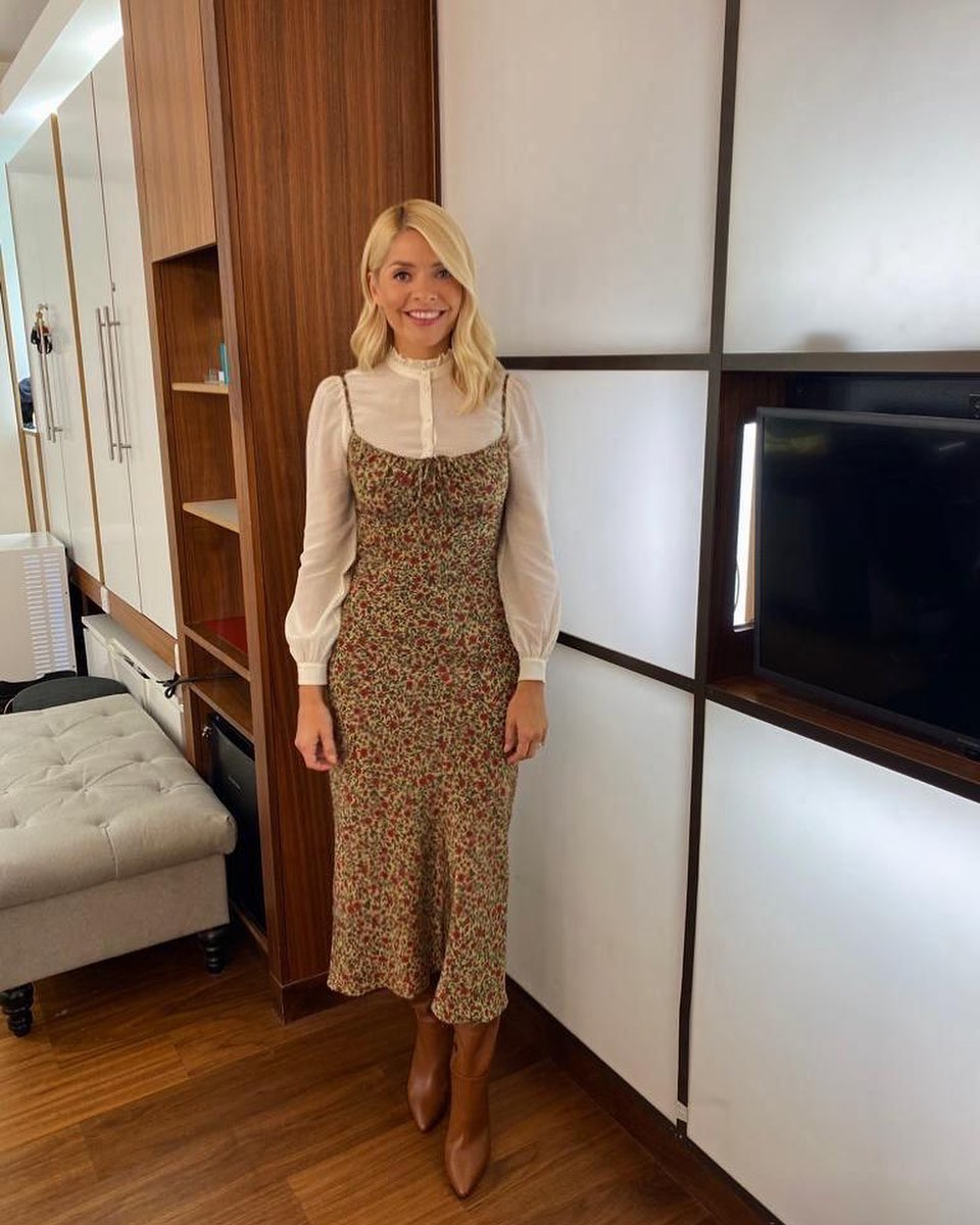 where to get all Holly Willoughby This Morning dresses strappy floral dress white frill shirt brown boots 1 September 2020 Photo Holly Willoughby