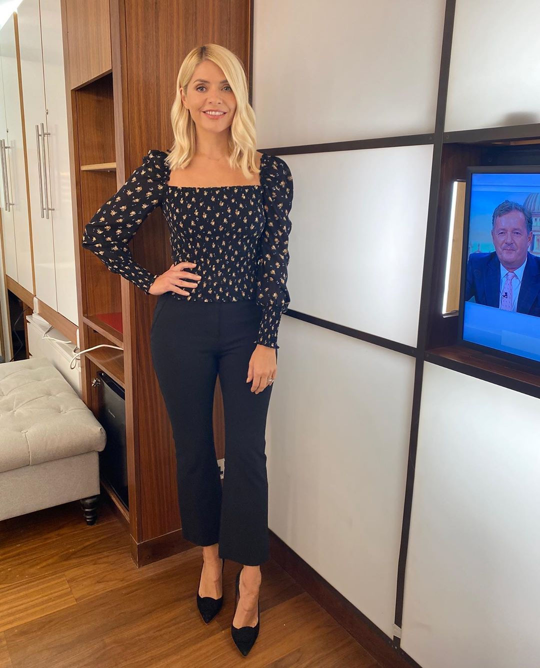 where to get all Holly Willoughby This Morning outfits black floral smocked top black kick flare leggings black court shoes 9 September 2020 Photo Holly Willoughby