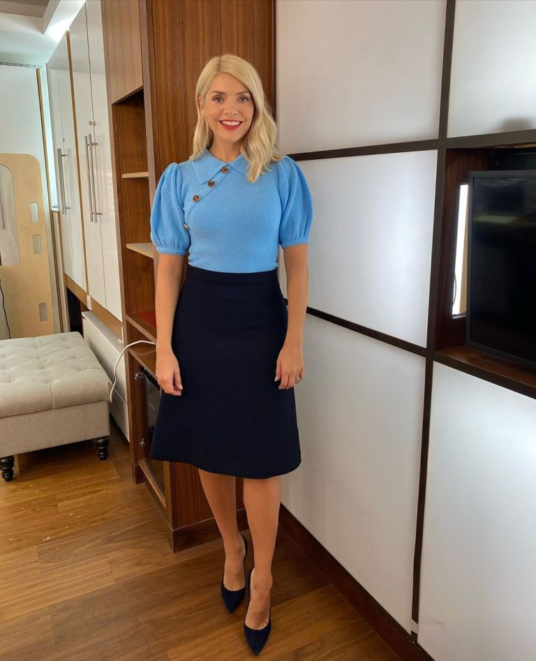 where to get all Holly Willoughby This Morning outfits blue button shulder knit black skirt black court shoes 17 September 2020 Photo Holly Willoughby