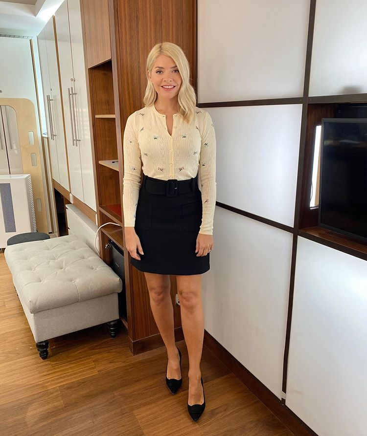 where to get all Holly Willoughby This Morning outfits cream embroidered cardiagn black belted mini skirt 15 September 2020 Photo Holly Willoughby