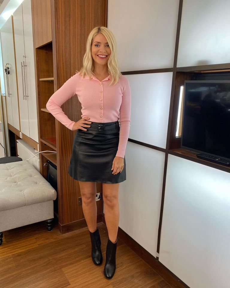 where to get all Holly Willoughby This Morning outfits pink cardigan black leather mini skirt black leather boots 28 September 2020 Photo Holly Willoughby
