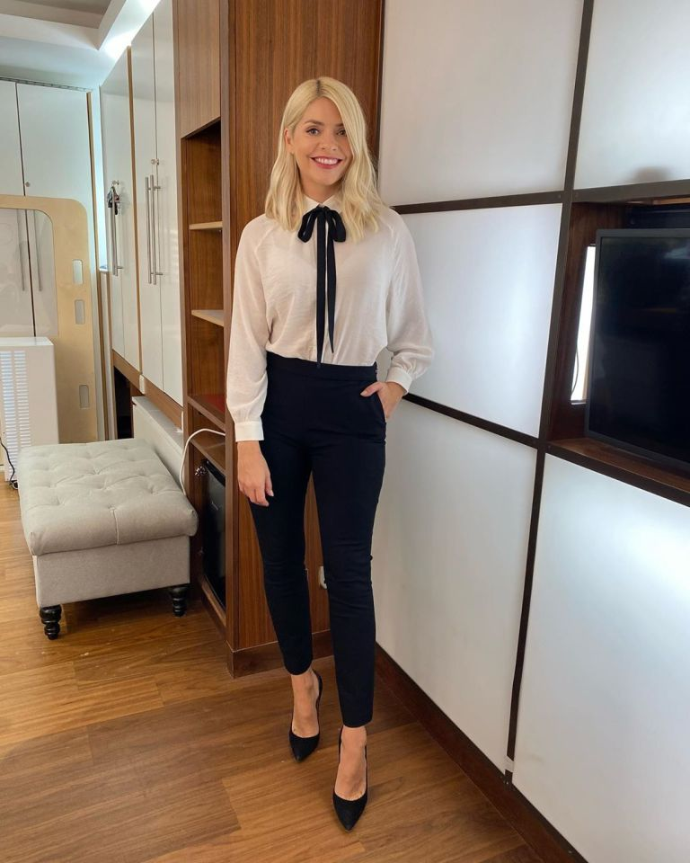 where to get all Holly Willoughby This Morning outfits white pussy bow blouse black trousers black court shoes 22 September 2020 Photo Holly Willoughby