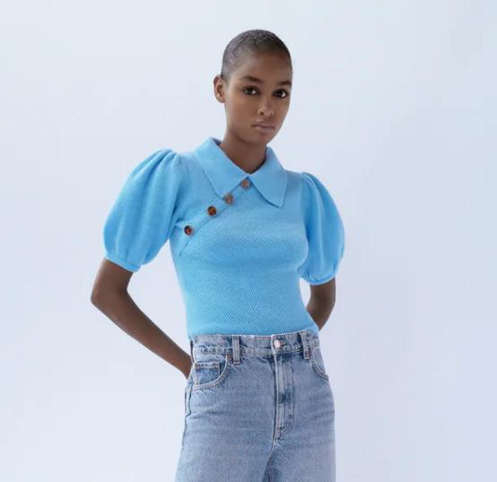 Zara Button-Up Knit Top