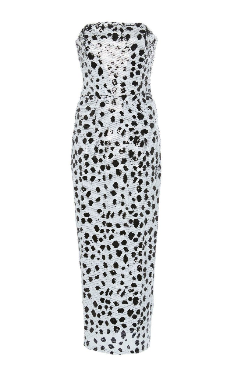 16 Arlington Strapless Dalmantion Printed Sequin Dress