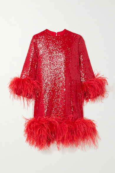 16arlington-billie-feather-trimmed-sequined-crepe-mini-dress-red