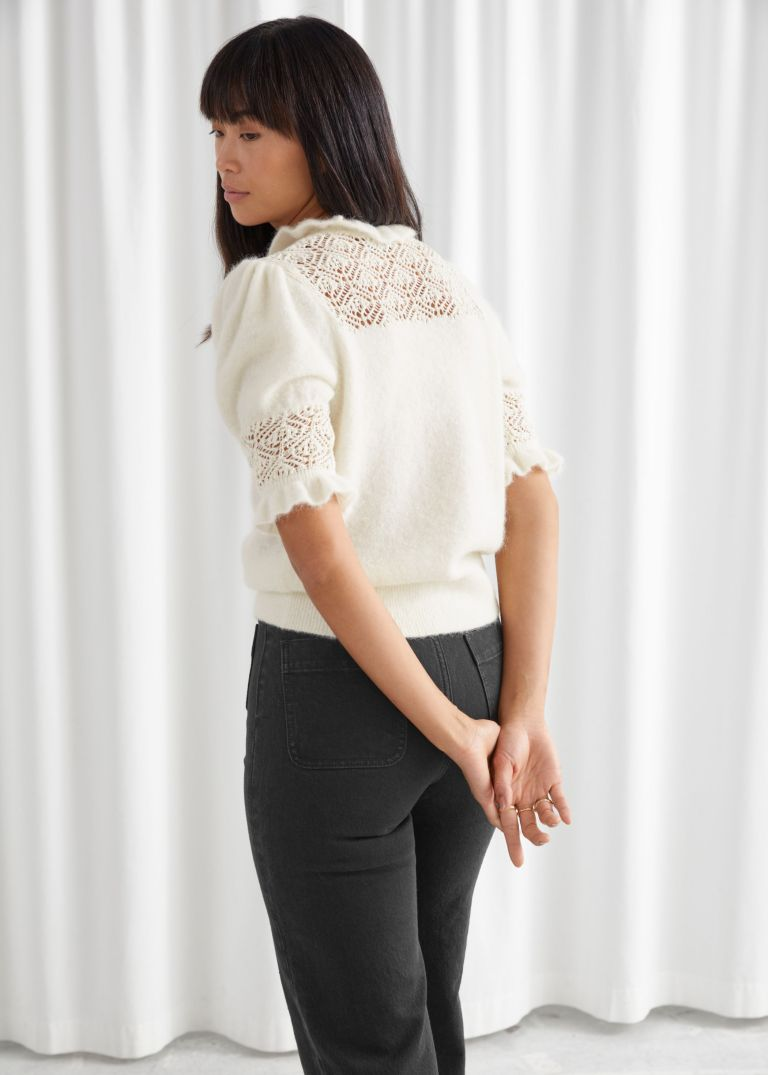 And Other Stories Ruffled Puff Sleeve Knit Top back view