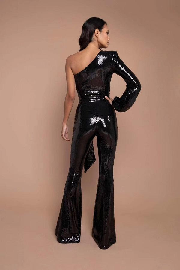 Black Long Sleeve One Sleeve Sequin Fashion Jumpsuit baxk view