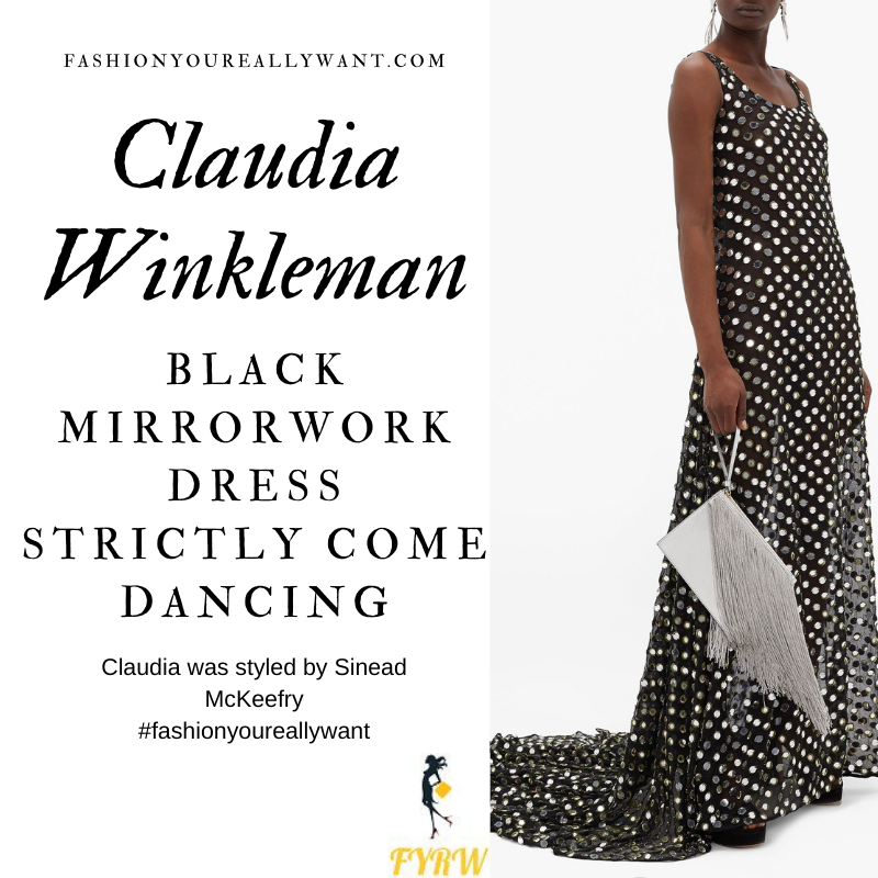 Claudia Winkleman Wore This on Strictly Come Dancing Week 2 October 2020 where to get her outfits black sleeveless mirror dress asymmetric hem