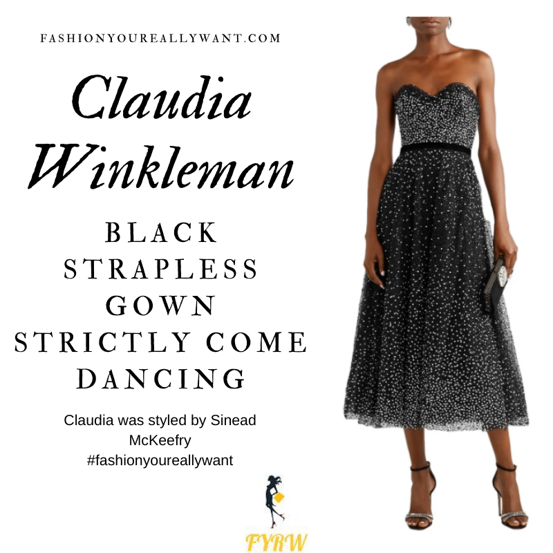 Claudia Winkleman Strictly Come Dancing Week 1 October 2020 where to get her outfits black beaded strapless gown