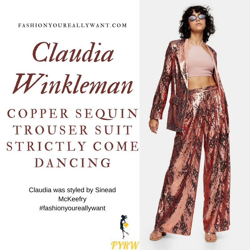 Claudia Winkleman Wore This on the Strictly Come Dancing Launch October 2020 where to get her outfits copper sequin trouser suit