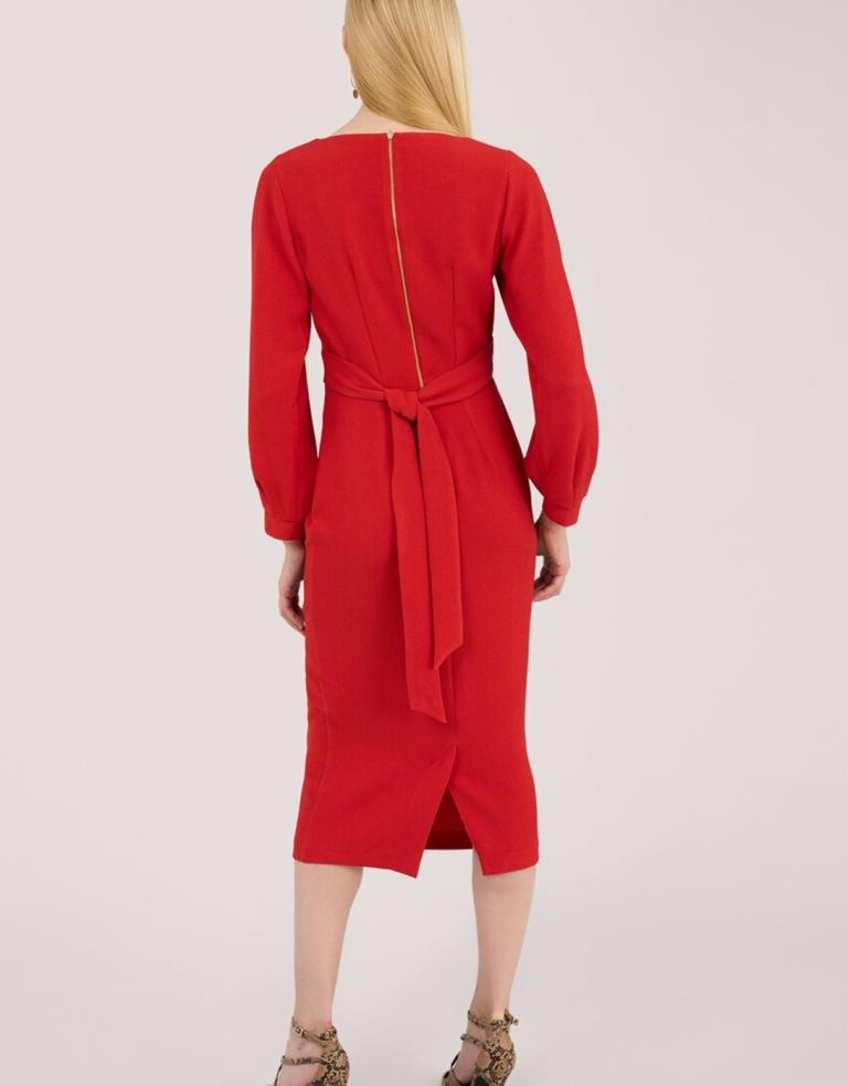 Closet London Red Pleated Long Sleeve Midi Dress back view