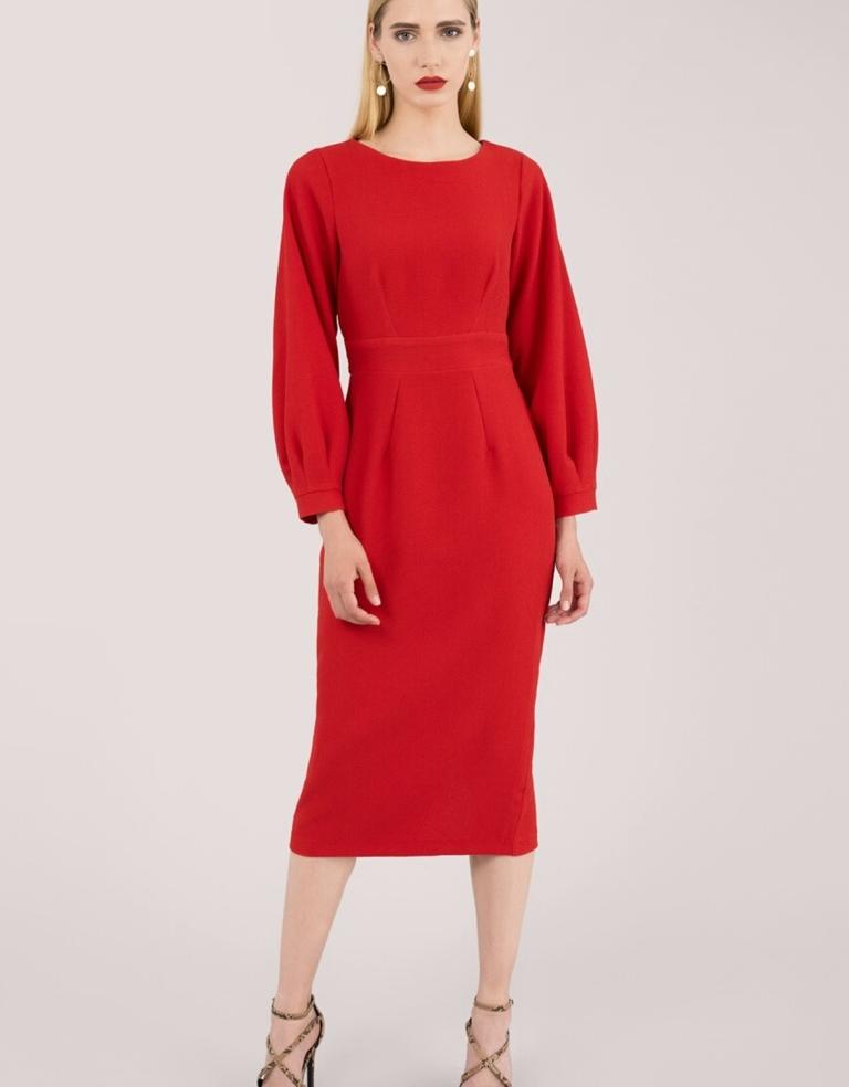Closet London Red Pleated Long Sleeve Midi Dress