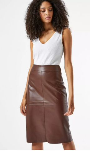 Dorothy Perkins Chocolate PU skirt