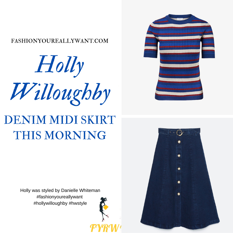 Where to get all Holly Willoughby This Morning outfits blog October 2020 blue white striped short sleeve knit midi button front denim skirt with belt navy suede court shoes