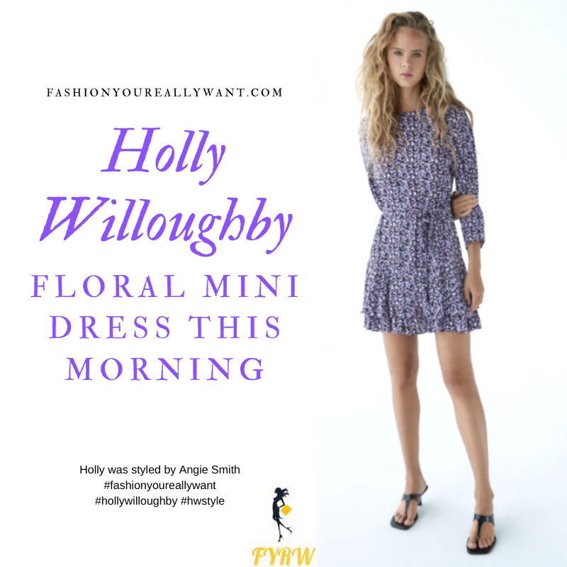 Where to get all Holly Willoughby This Morning outfits blog October 2020 blue purple black floral long sleeve nini dress black ankle boots