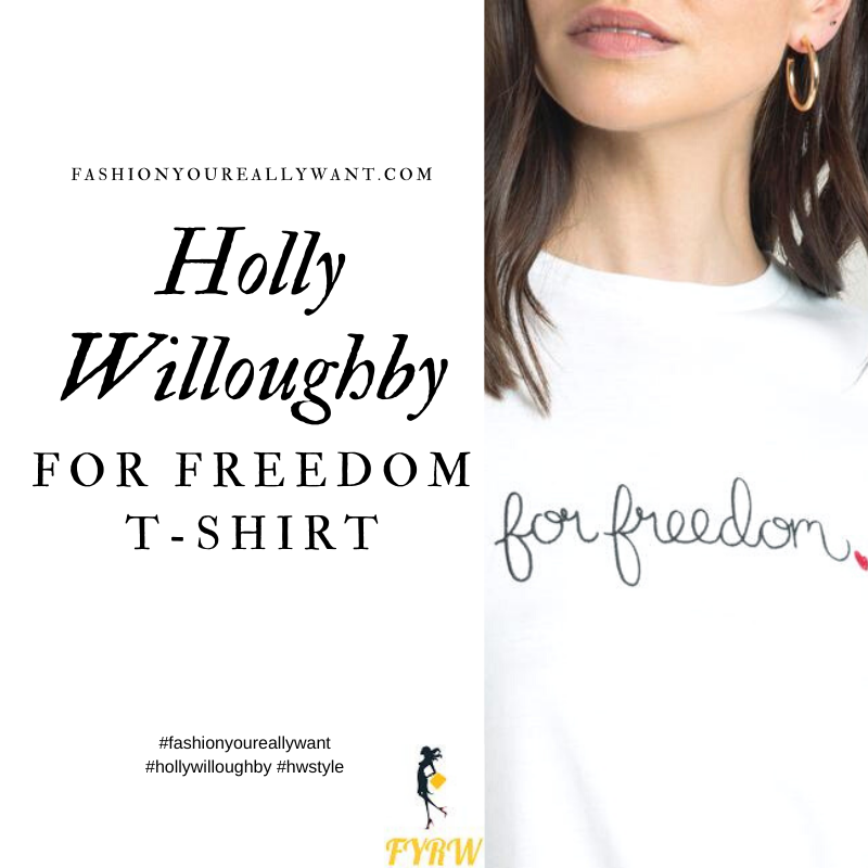 Where to get all Holly Willoughby outfits blog October 2020 white Fo Freedom t-shirt
