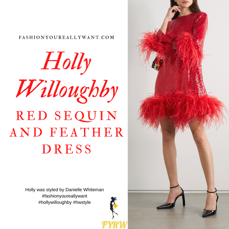 Where to get all Holly Willoughby outfits blog October 2020 red sequin and feather dress black sandals
