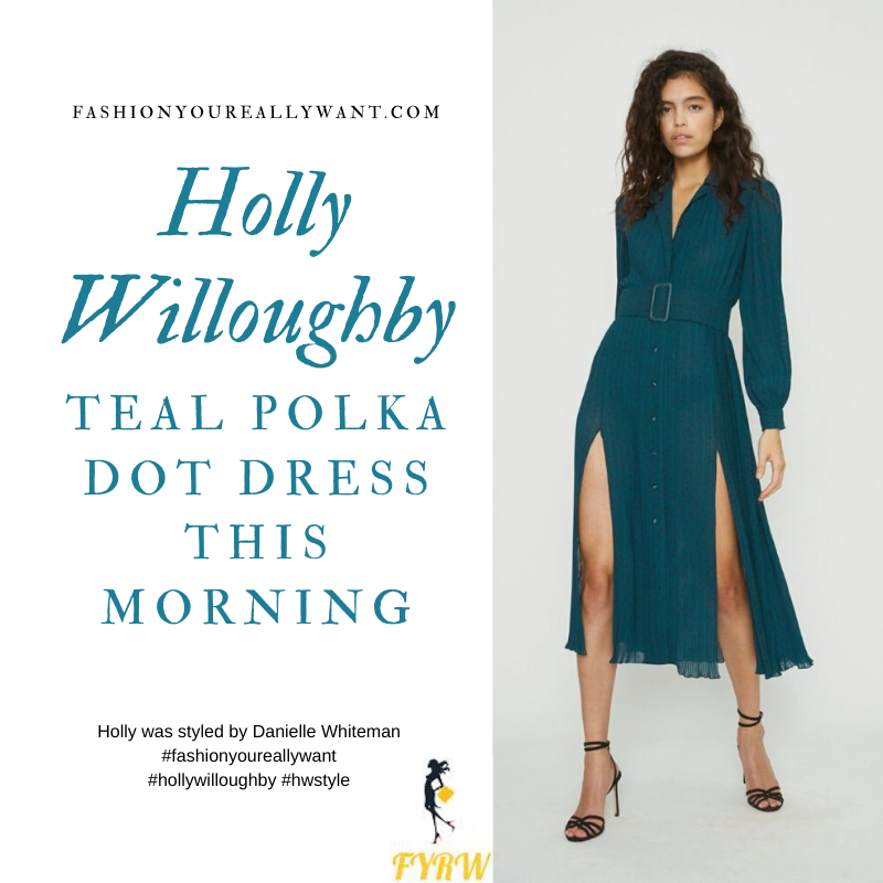 Where to get all Holly Willoughby This Morning outfits blog October 2020 blue green teal polka dot button front dress black knee highn boots