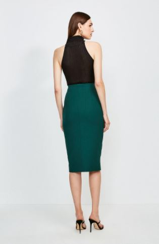 Karen Millen Structured Crepe Waist Tab Skirt back view