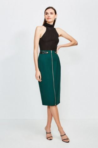 Karen Millen Structured Crepe Waist Tab Skirt
