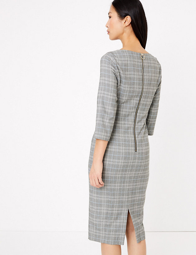 M&S Collection Checked Tailored Bodycon Dress back view