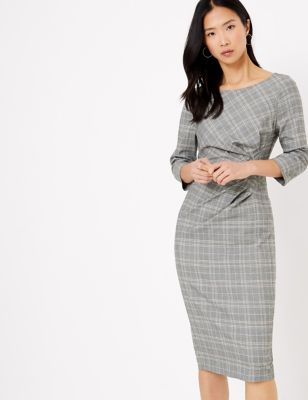 M&S Collection Checked Tailored Bodycon Dress