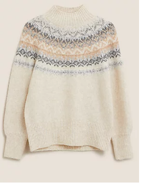 M&S collection Fair Isle Funnel Neck Relaxed Jumper