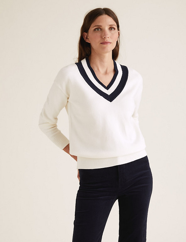 M&S Collection Soft Touch V-Neck Relaxed Jumper